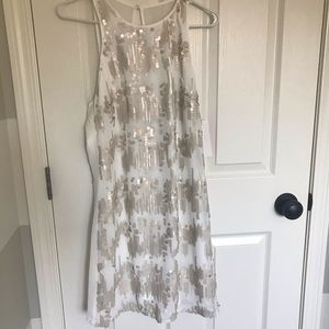 White and beige/gold sequin sheath dress